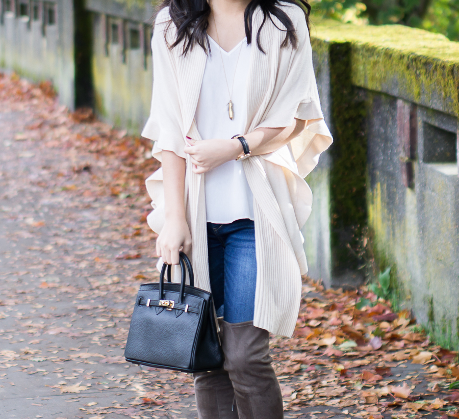 Ruffle Cardigan and Mini Black Tote - Petite Fashion Blog
