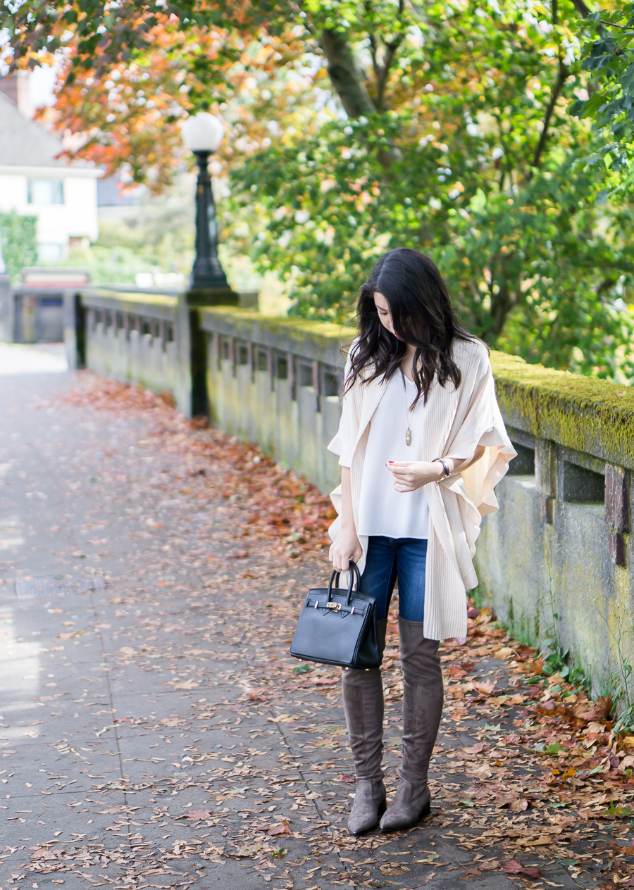 Ruffle Cardigan and Marc Fisher Yenna Over the Knee Boots - Fall Outfit - Petite Fashion Blog