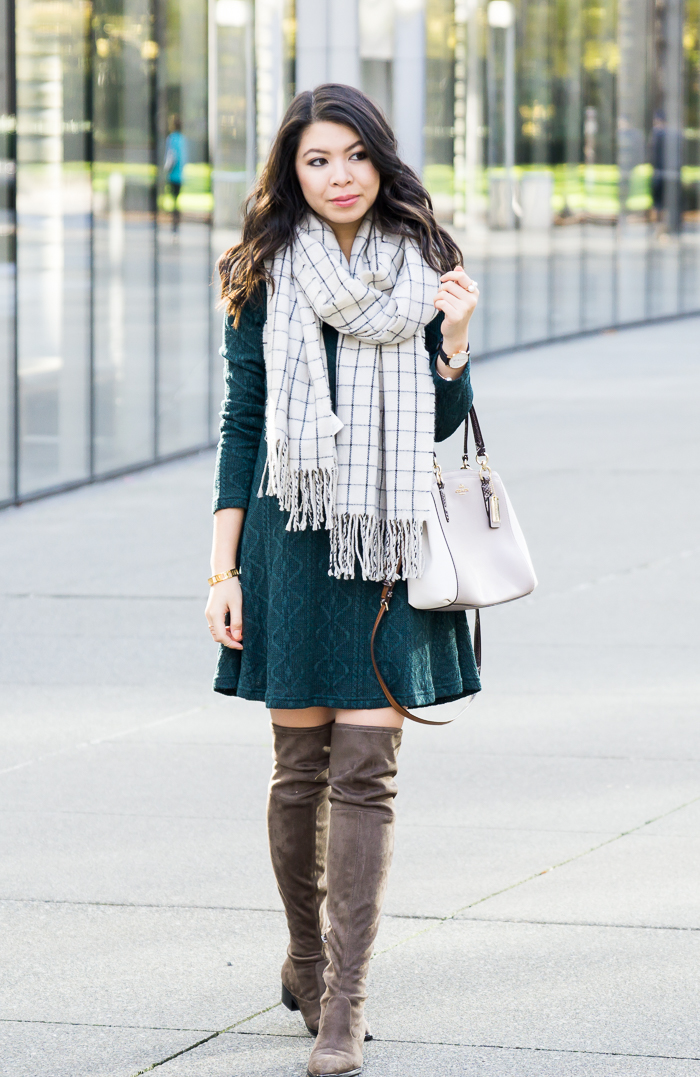 5d92168a59d Cable sweater dress with over the knee boots and checked scarf