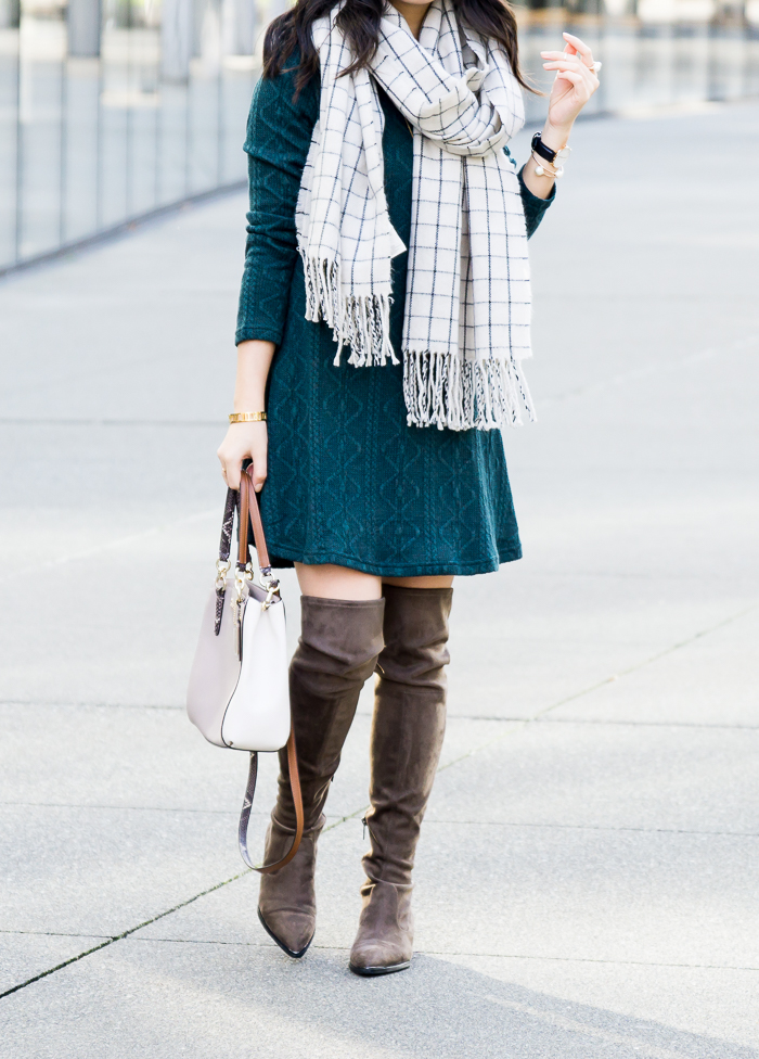 Cable sweater dress with over the knee boots and checked scarf, cute casual fall outfit, petite fashion blog