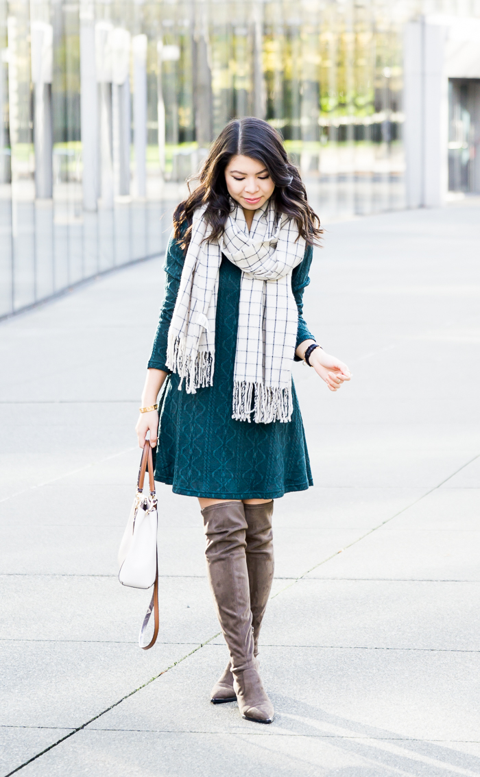 625d6b70ae5 ... Cable sweater dress with over the knee boots and checked scarf