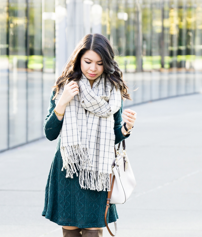 Cable sweater dress with checked scarf, cute casual fall outfit, petite fashion blog