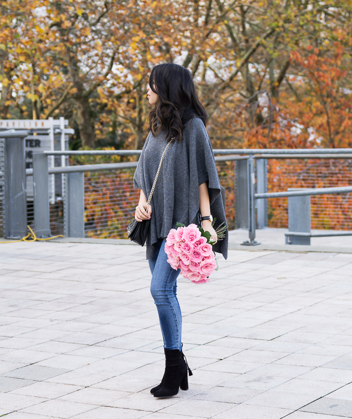 Poncho sweater, suede booties, cute fall outfit, petite fashion blog