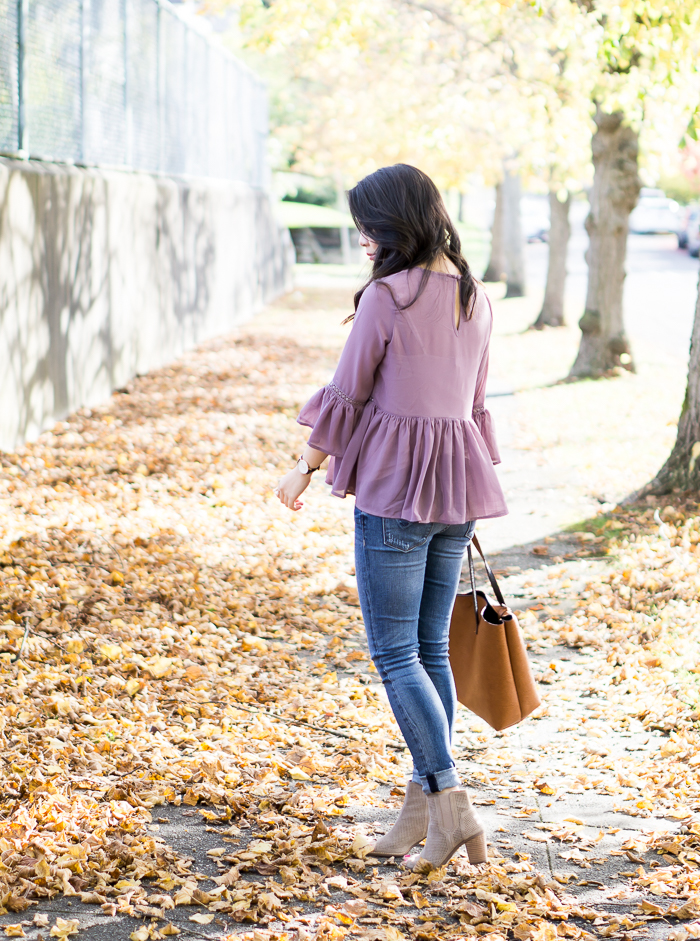 Find the perfect jeans, Fitcode review, Hudson Krista skinny jeans, Asos peplum top, Toms Majorca booties, fall outfit, petite fashion blog