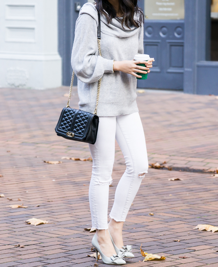 Cowl neck sweater, white jeans, bow pumps, cute fall outfit, petite fashion blog