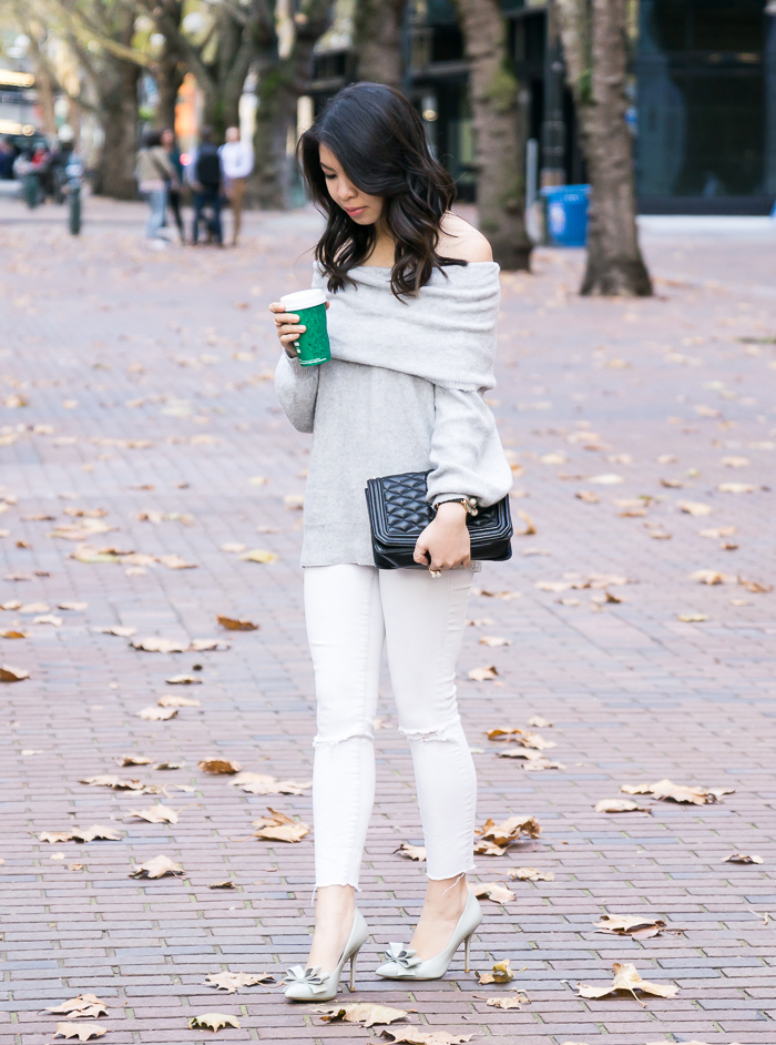 Off the shoulder sweater, white jeans, bow pumps, cute fall outfit, petite fashion blog