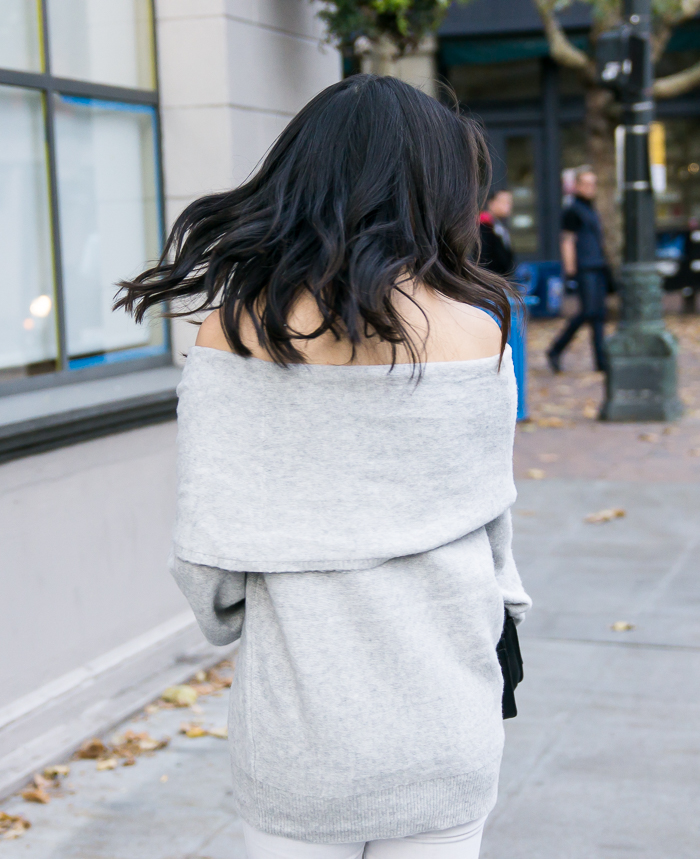 Off the shoulder sweater, white jeans, cute fall outfit, petite fashion blog