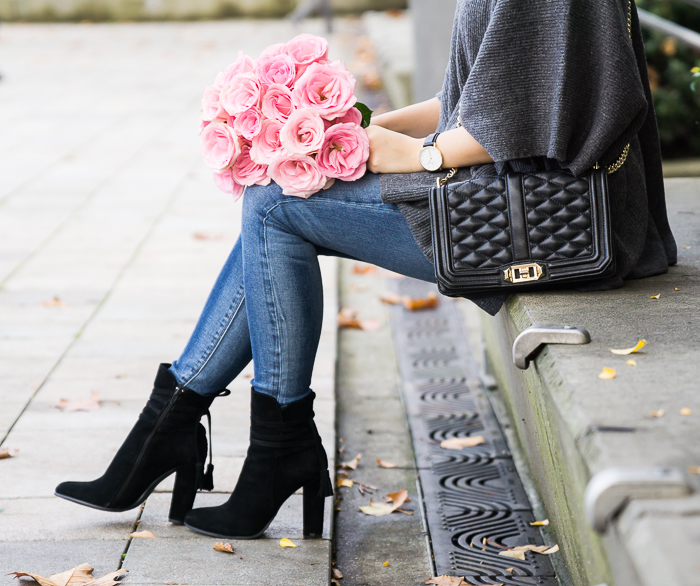 Suede booties, quilted crossbody, cute fall outfit, petite fashion blog