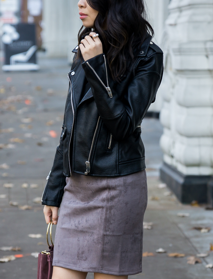 Suede skirt, faux leather moto jacket, fall outfit, petite fashion blog