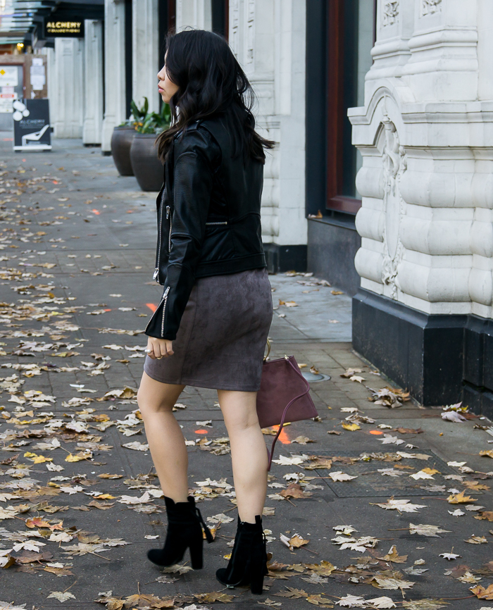 Suede skirt, faux leather moto jacket, suede booties, fall outfit, petite fashion blog