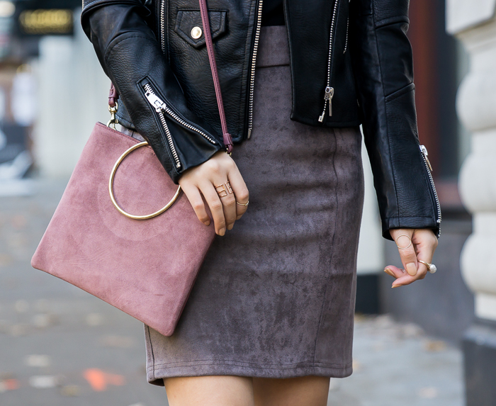 Suede skirt, fall outfit, petite fashion blog