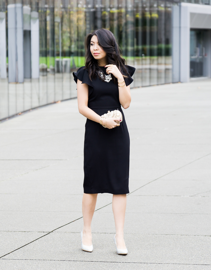 Classic black dress, holiday party outfit, petite fashion blogger