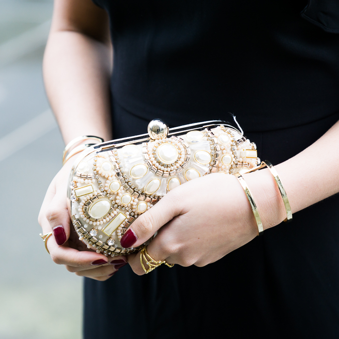 Embellished box clutch, petite fashion blogger