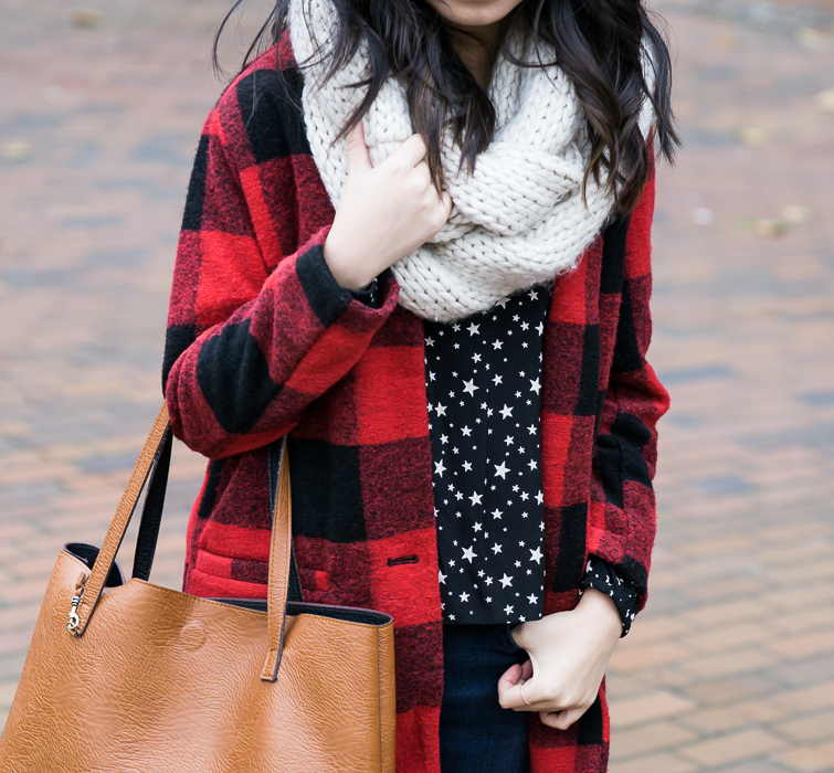 How to wear buffalo plaid print, buffalo check coat, cable knit infinity scarf, fall winter outfit, petite fashion blog