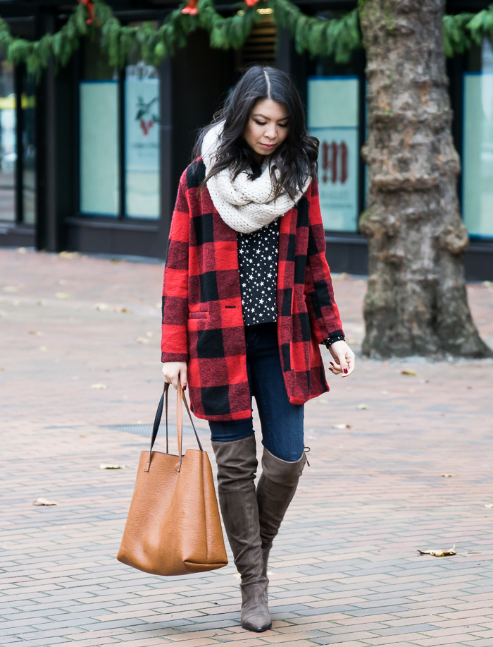How to wear buffalo plaid print, buffalo check coat, over the knee boots, cable knit infinity scarf, fall winter outfit, petite fashion blog