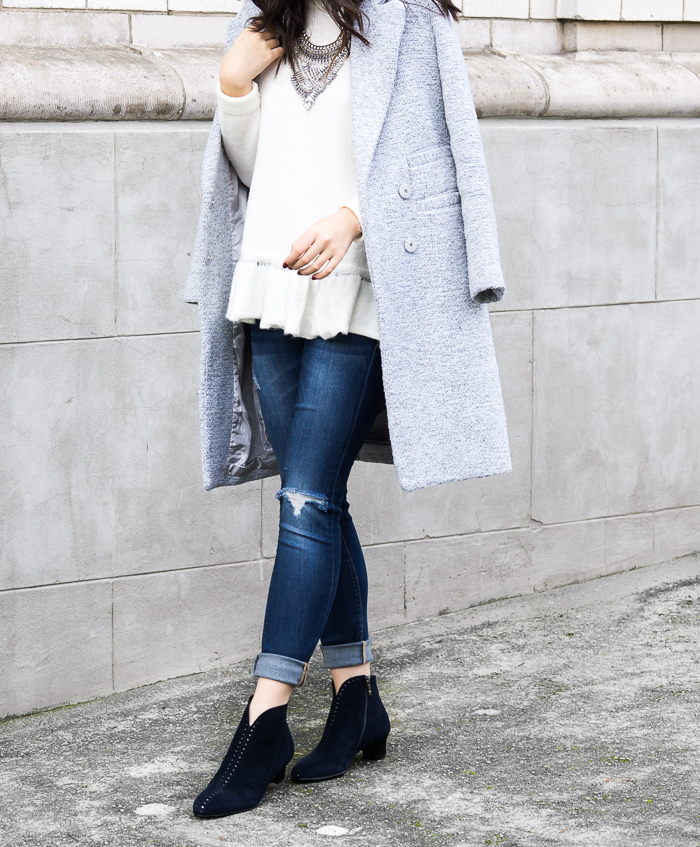 Ruffle sweaters, tweed coat, statement necklace, winter chic outfit, petite fashion blog