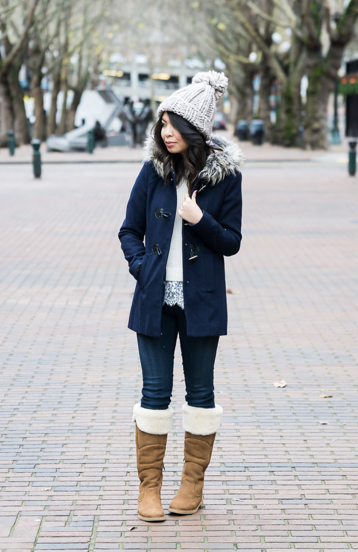 Sibley UGG Boots Outfits, cute casual winter outfit, pom pom beanie, hooded fur coat, petite fashion blog