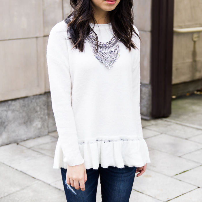 Statement necklace, ruffle sweaters