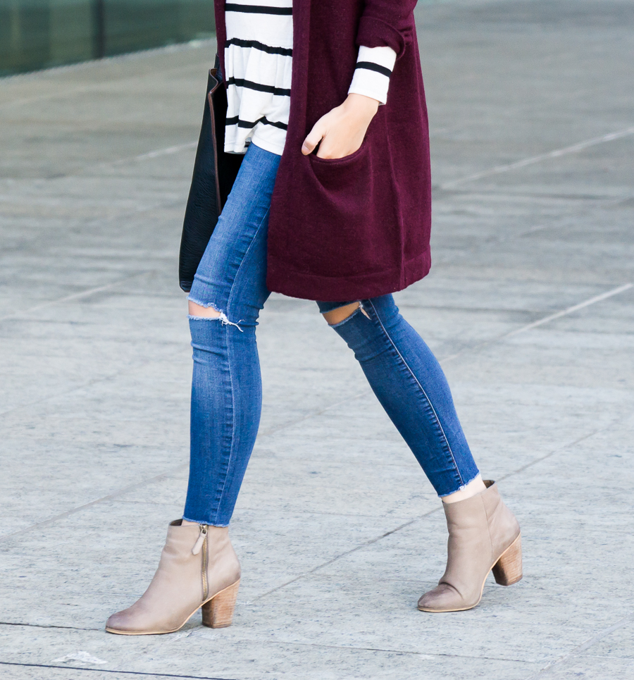 Burgundy cardigan outfit, striped top, Nordstrom BP Trolley booties, fall outfit, petite fashion blog