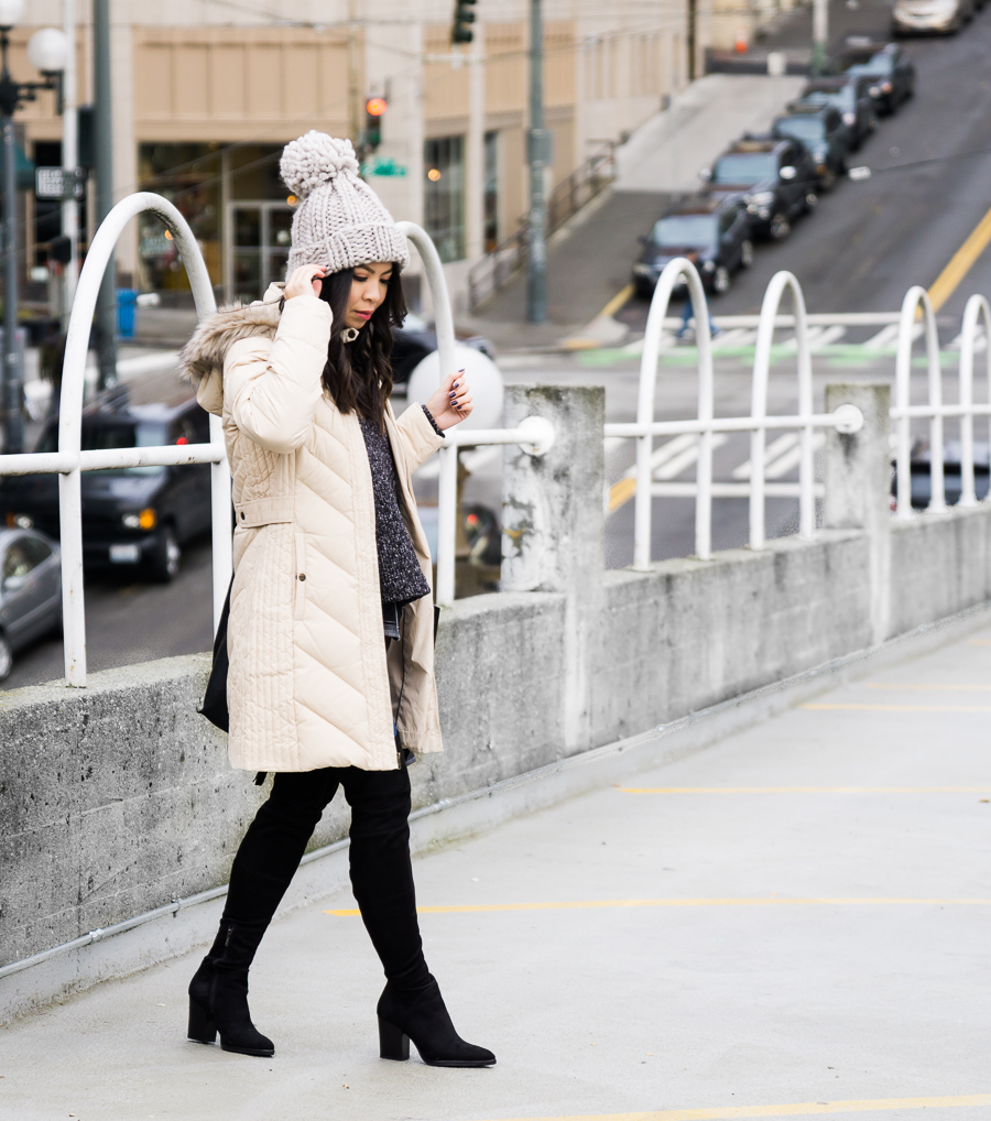 Cute Puffer Jacket With Faux Fur Hood Winter Outfit Over The Knee