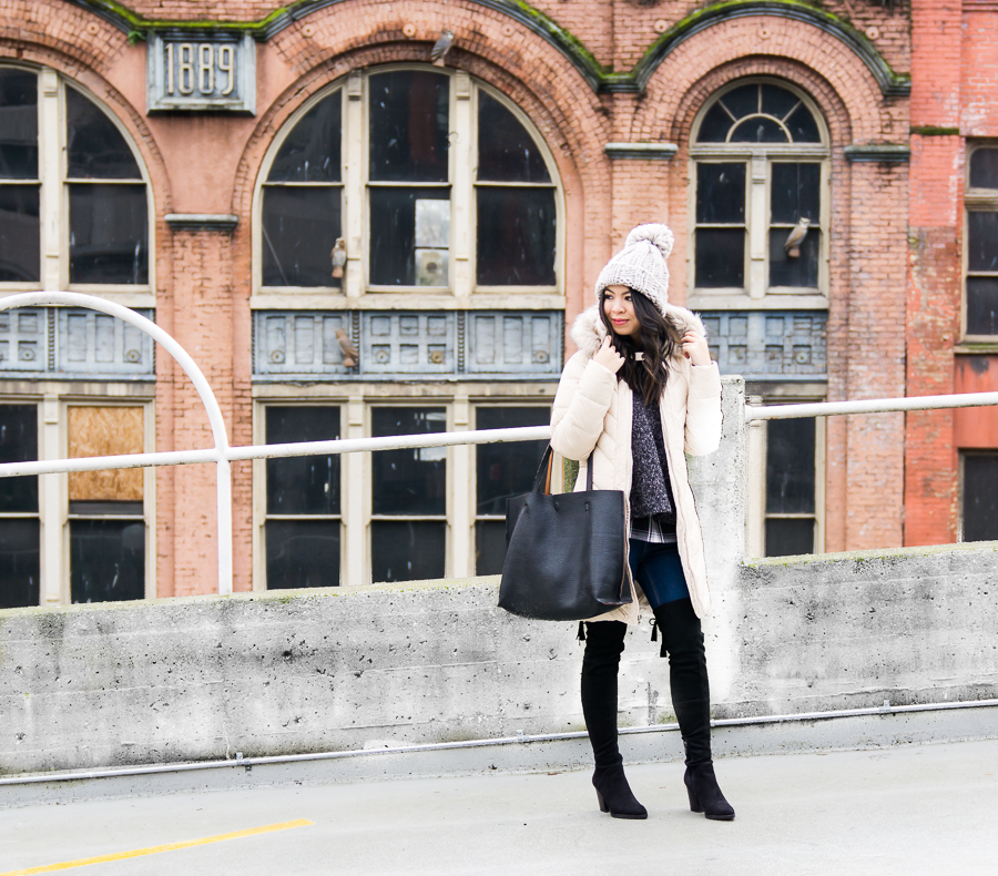 Ten cute puffer jackets with faux fur hood, winter outfit, over the knee boots, pom pom beanie, petite fashion blog
