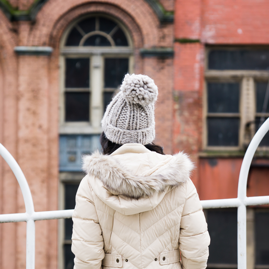 Ten cute puffer jackets with faux fur hood, winter outfit, pom pom beanie, petite fashion blog