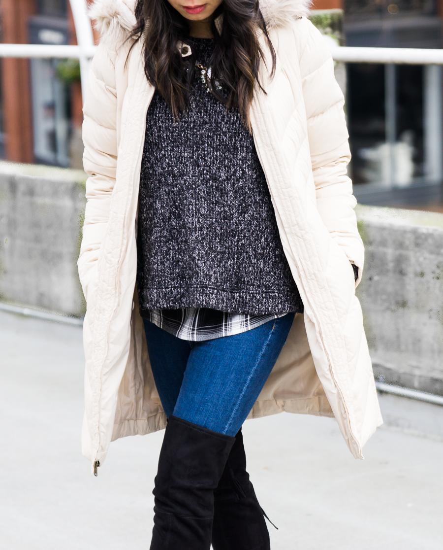Ten cute puffer jackets, winter outfit, petite fashion blog