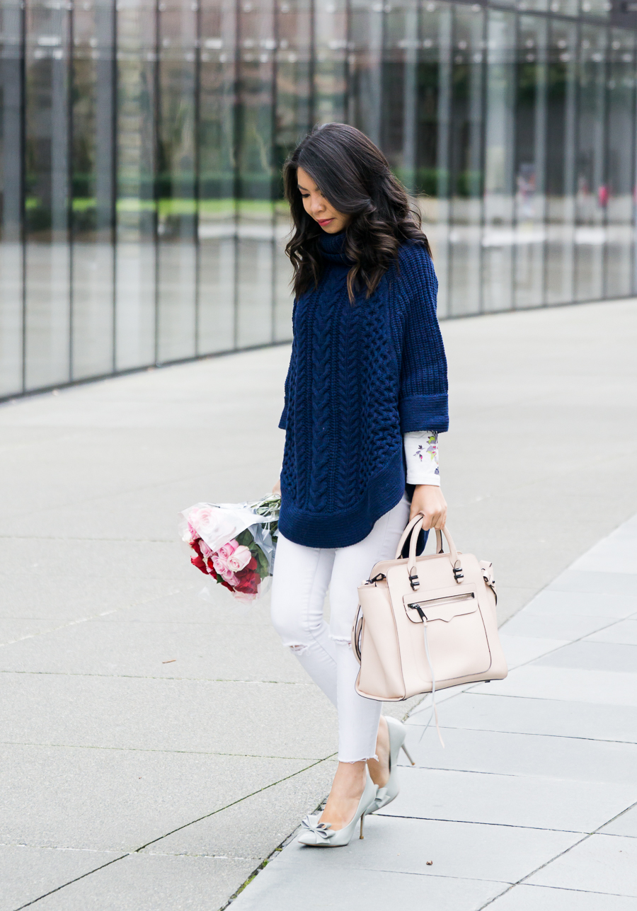 Cable knit sweater poncho outfit, white jeans, bow pumps, petite fashion blog
