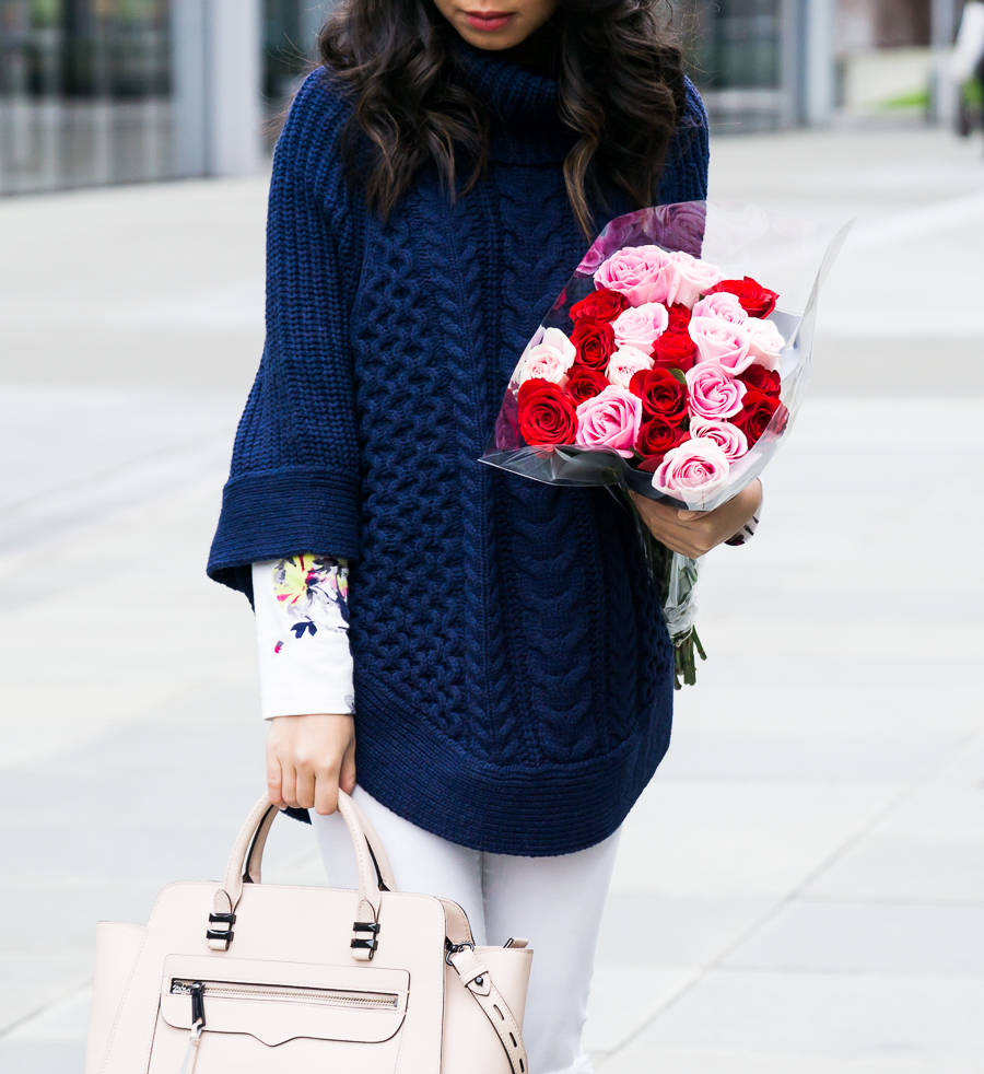 Cable knit sweater poncho outfit, white jeans, petite fashion blog