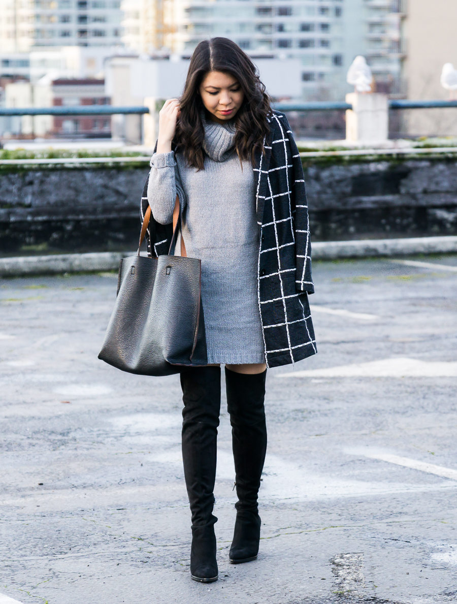 Marc Fisher Alinda Over the Knee Boots Review, Sweater Dress, Windowpane Coat, Winter Outfit, Petite Fashion Blog