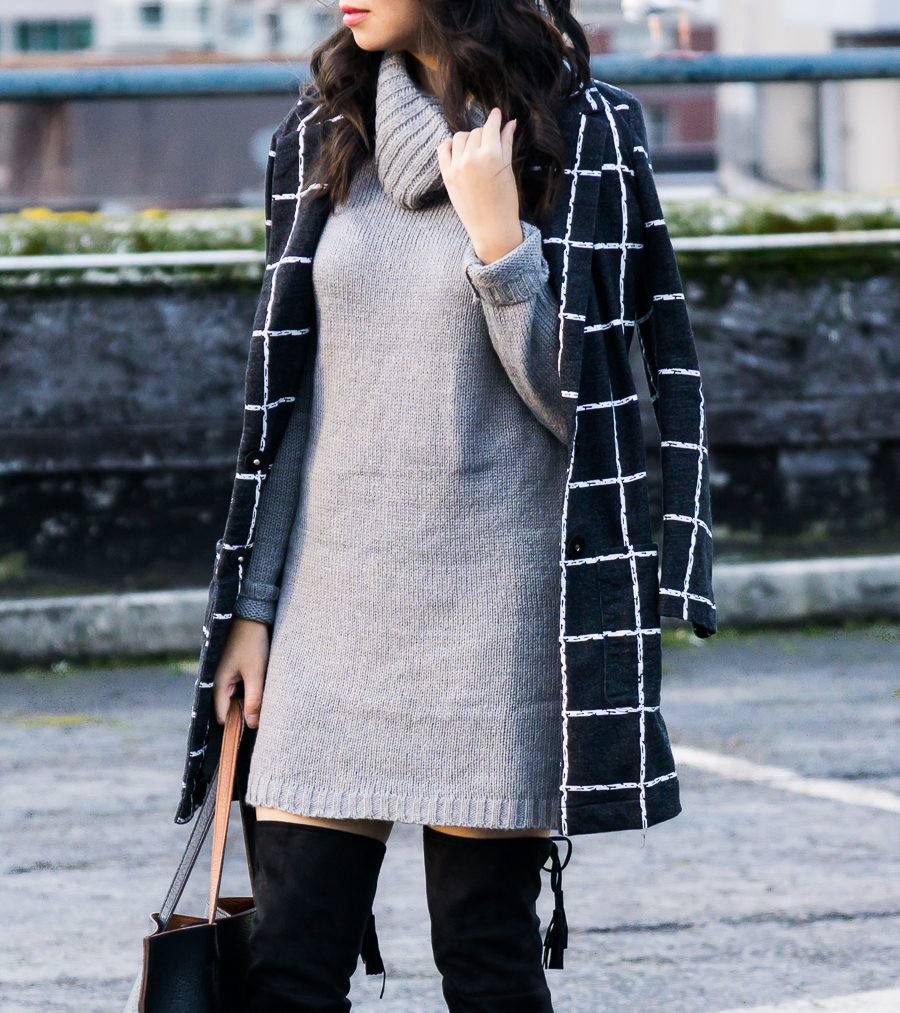 Sweater Dress, Windowpane Coat, Winter Outfit, Petite Fashion Blog
