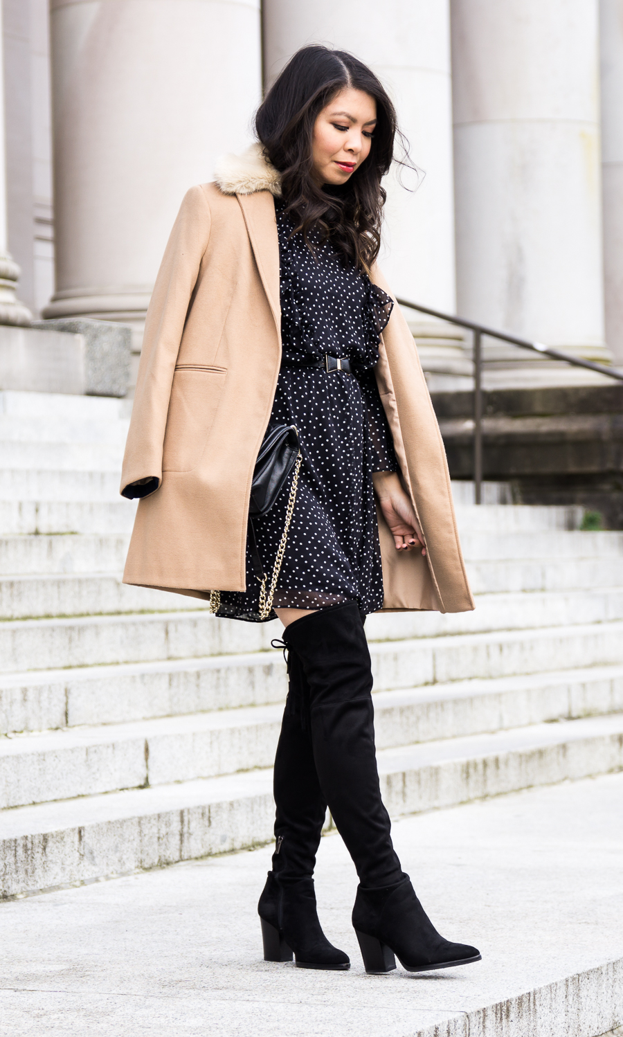 Topshop camel coat, ruffle polka dot dress, Marc Fisher Alinda over the knee boots, winter chic outfit, petite fashion blog