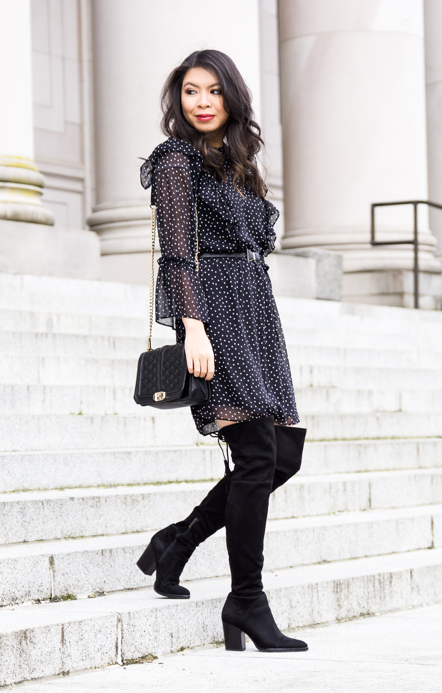 Topshop ruffle polka dot dress, Marc Fisher Alinda over the knee boots, cute chic outfit, petite fashion blog
