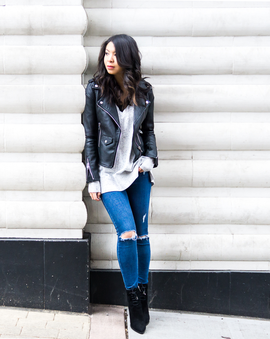 BLANKNYC faux leather jacket review, edgy chic outfit, petite fashion blog