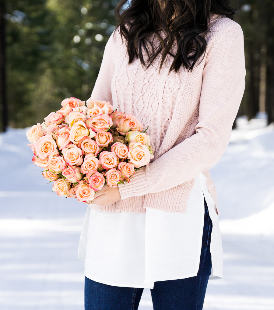 Cable knit sweater, cute casual winter outfit, Suncadia Resort with snow, petite fashion blog