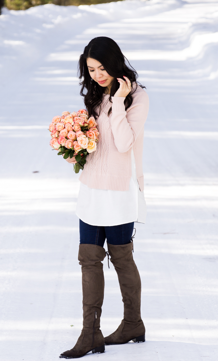 Cable knit sweater, pointed toe over the knee boots, cute casual winter outfit, Suncadia Resort with snow, petite fashion blog