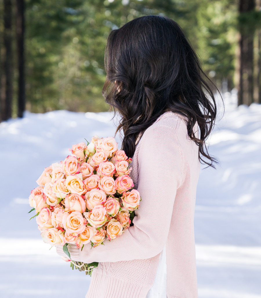 Cable knit sweater, Whole Foods roses, Suncadia Resort with Snow, Petite Fashion Blog