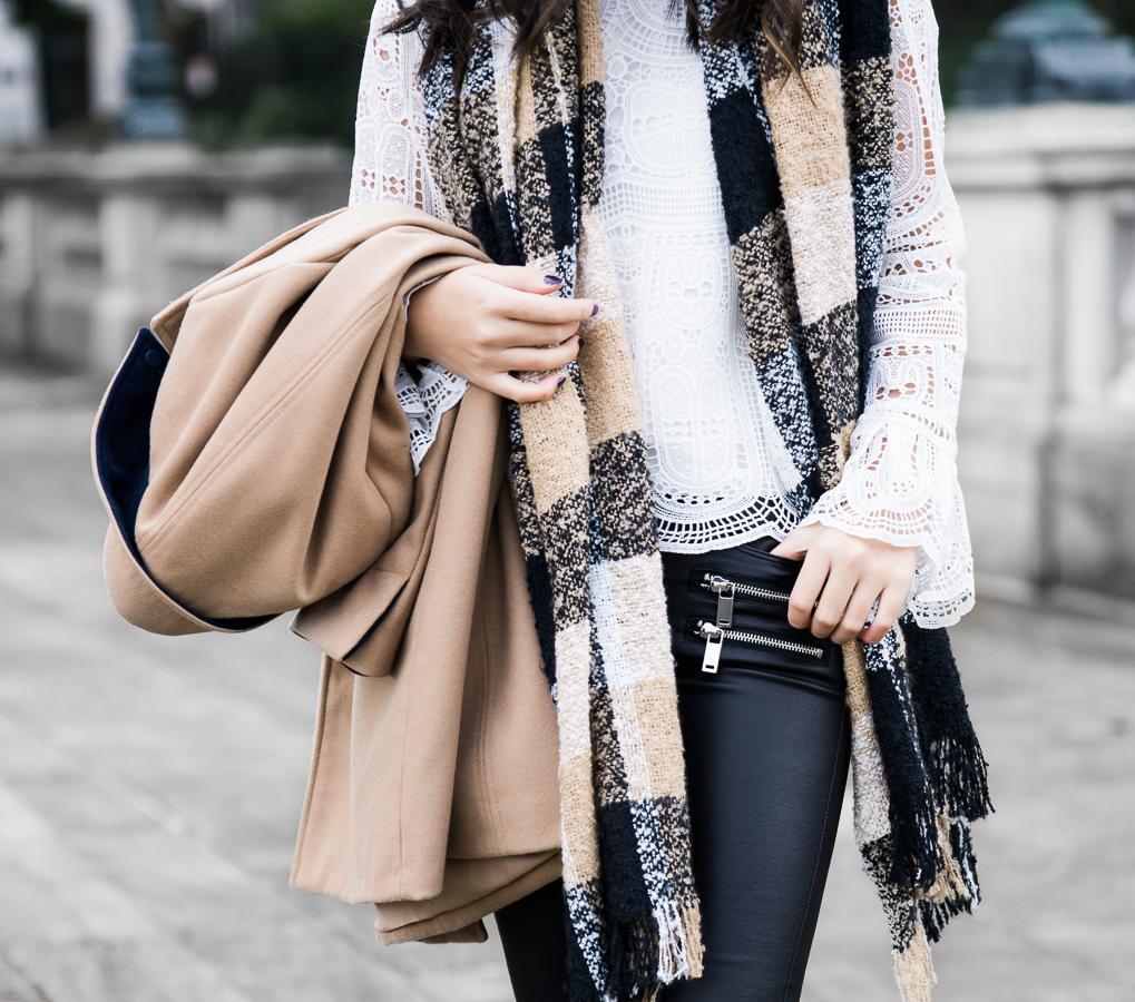Camel coat, winter chic outfit, plaid scarf, petite fashion blog