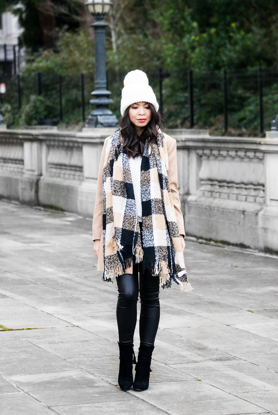Camel coat outfit, winter chic outfit, pom pom beanie, plaid scarf, petite fashion blog
