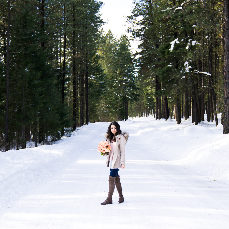 Cute casual winter outfit, Suncadia Resort with snow, petite fashion blog