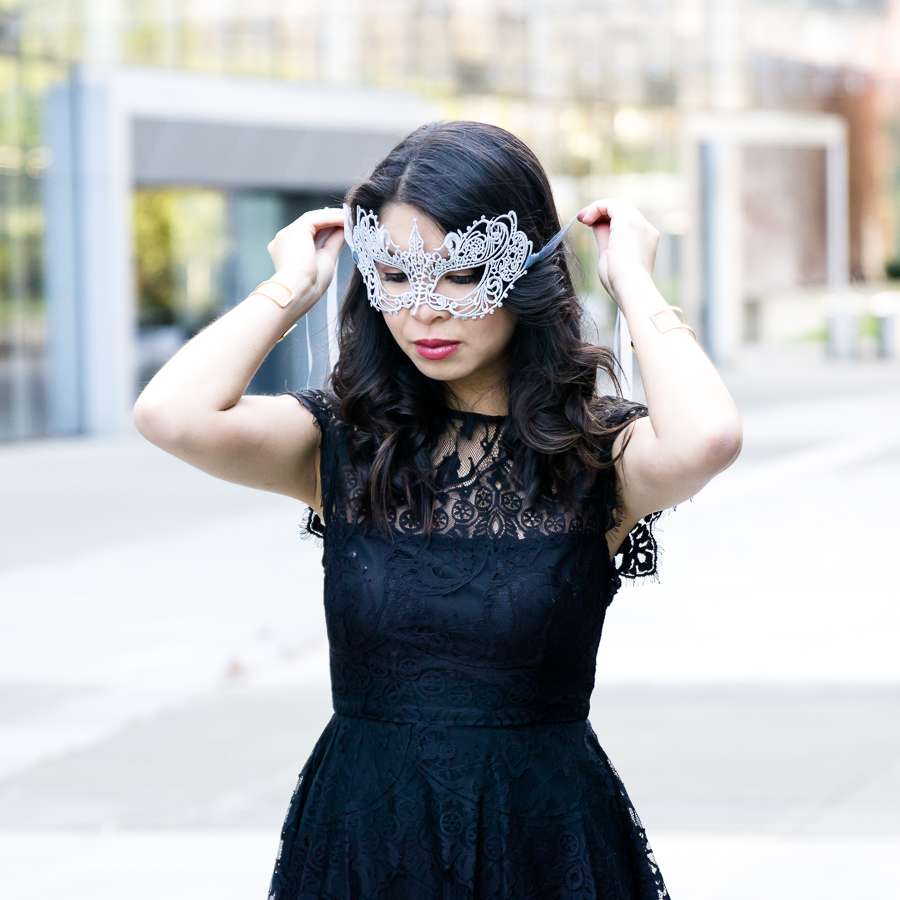 Outfit for Valentines Day, BB Dakota Rhianna Lace Dress Outfit, Petite Fashion Blog, Fifty Shades Darker Masquerade Mask