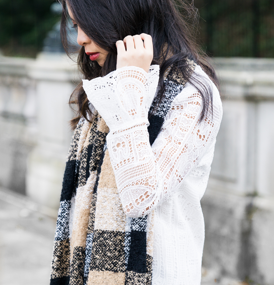 Lace bell sleeves, plaid scarf, petite fashion blog