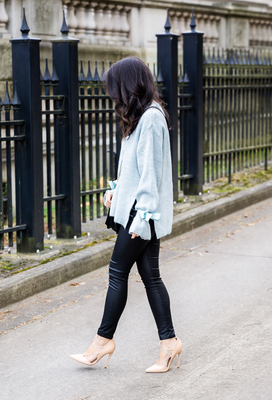 Topshop sweater with bows ribbon tie cuff, Asos coated skinny jeans, Rebecca Minkoff quilted crossbody, lace up heels, Valentines Day outfit idea