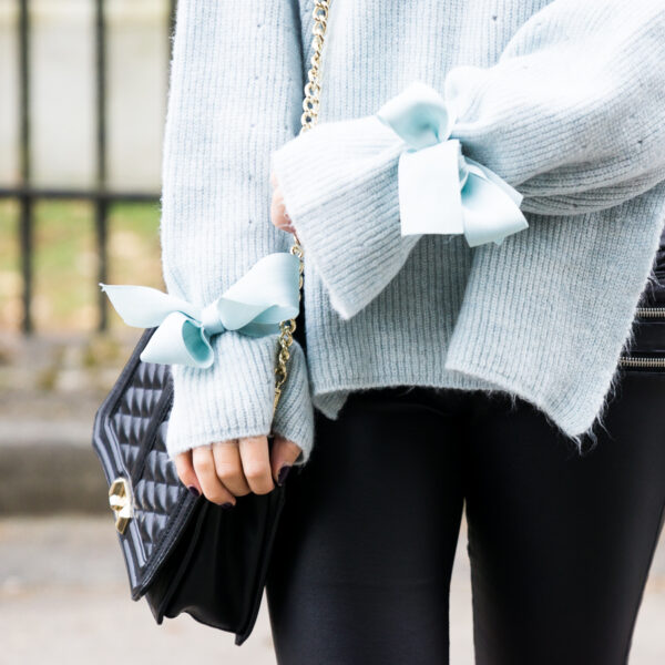 Topshop sweater with bows ribbon tie cuff, Rebecca Minkoff Love Crossbody, Valentines Day outfit idea