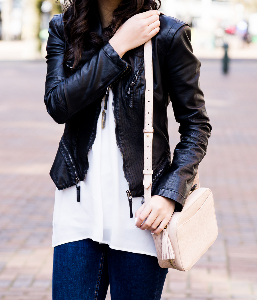 How to transition winter clothes to spring, Cuyana bag, BLANKNYC faux leather jacket, petite fashion blog