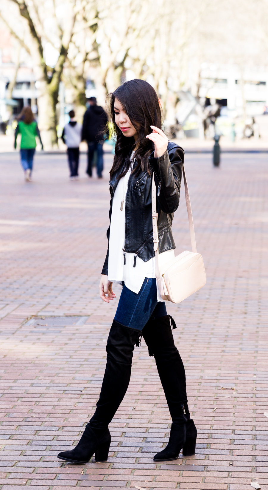How to transition winter clothes to spring, Marc Fisher over the knee boots, petite fashion blog
