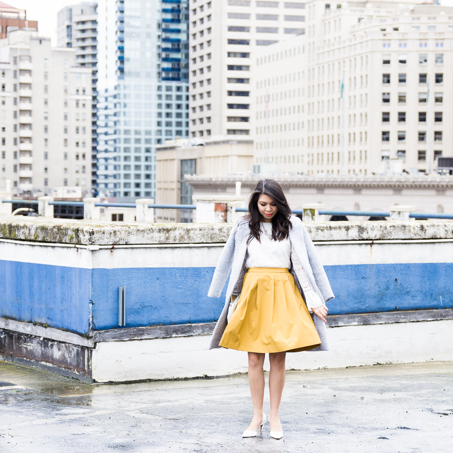 How to wear yellow for your skin tone, yellow skirt outfit, spring style, petite fashion blog