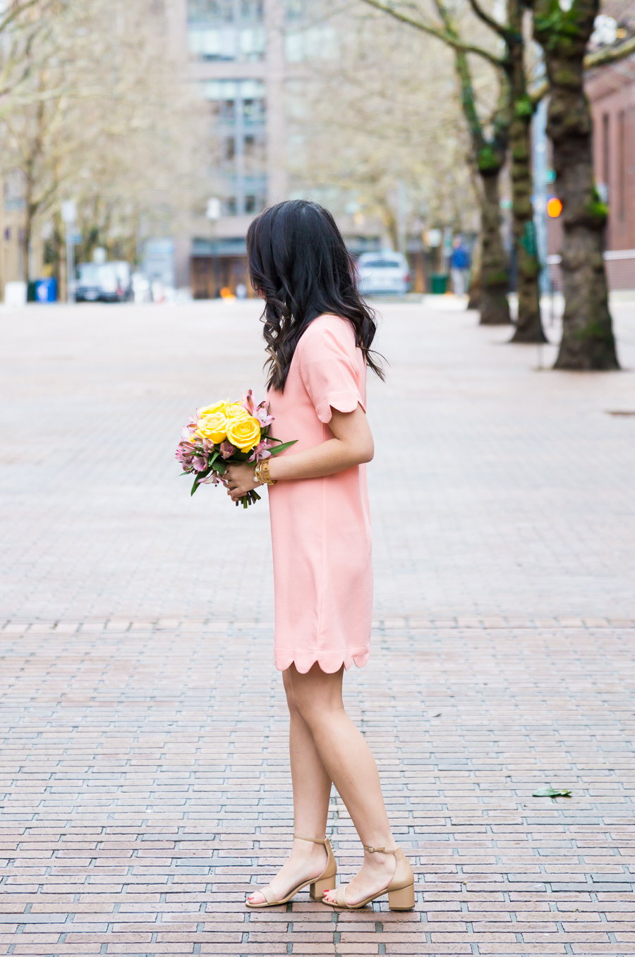 Favorite scallop edge clothes, scallop edge dress, spring style, petite fashion blog