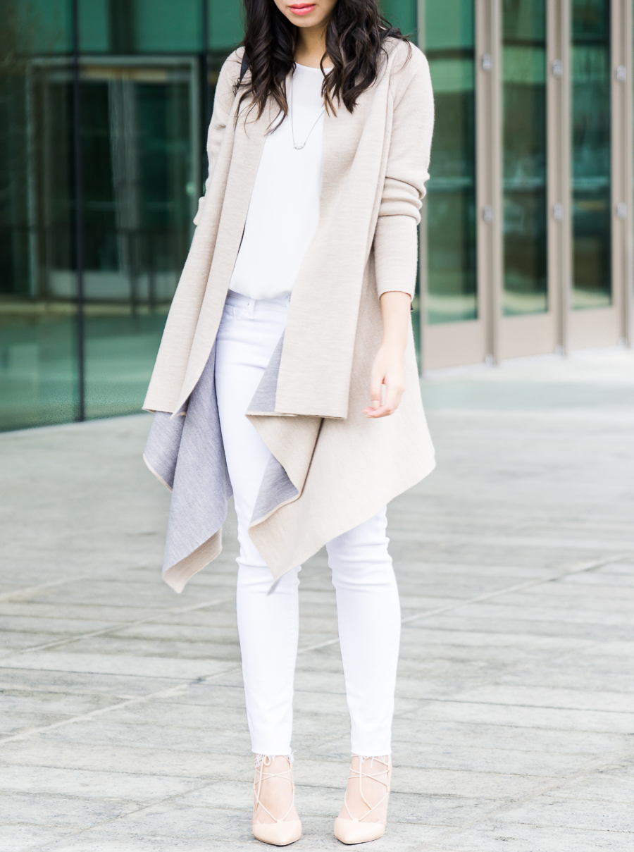 Skinny white jeans outfit, spring style, AG Jeans The Legging Ankle, waterfall cardigan, petite fashion blog