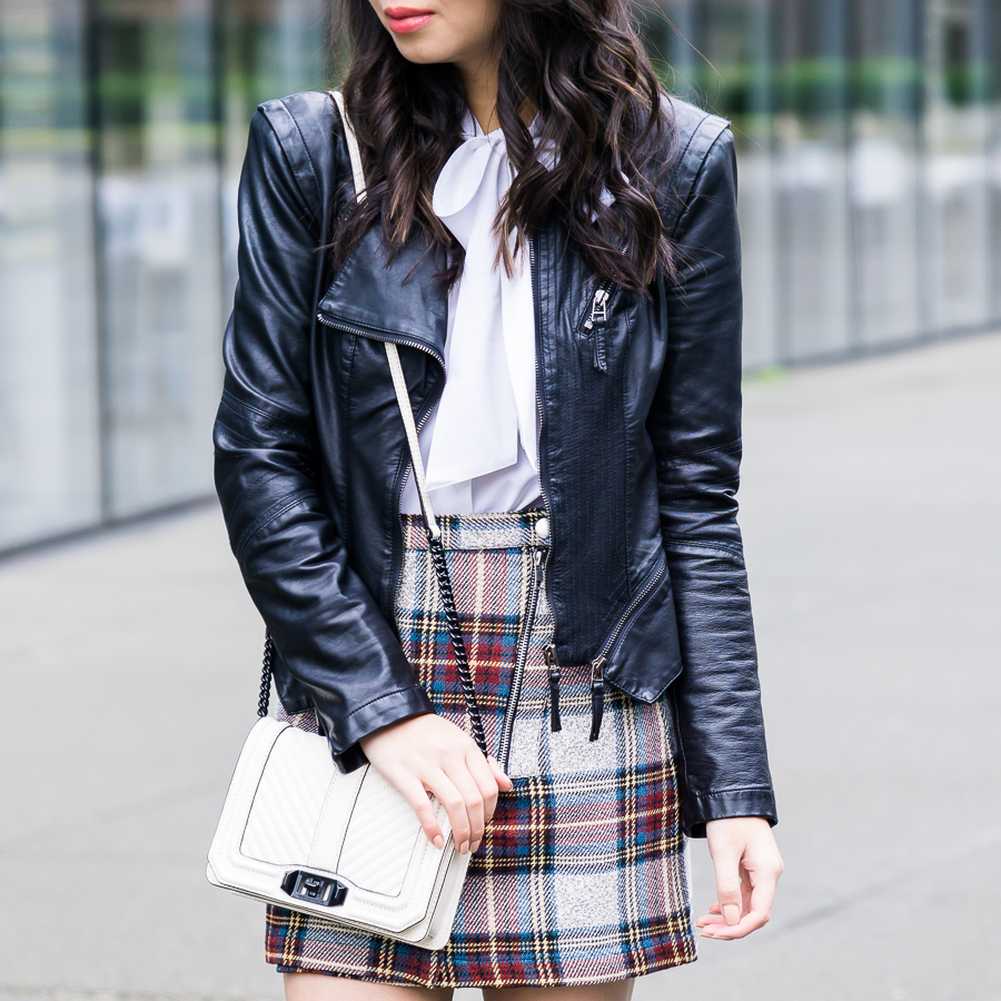 Topshop plaid mini skirt, faux leather jacket, school girl inspired outfit, petite fashion blog